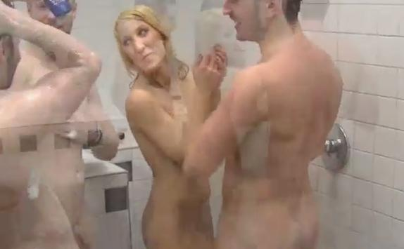 Naked boys taking a shower with naked girls