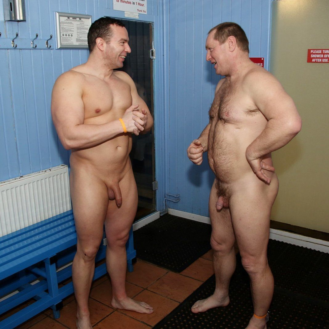 Real naked male athletes in locker room