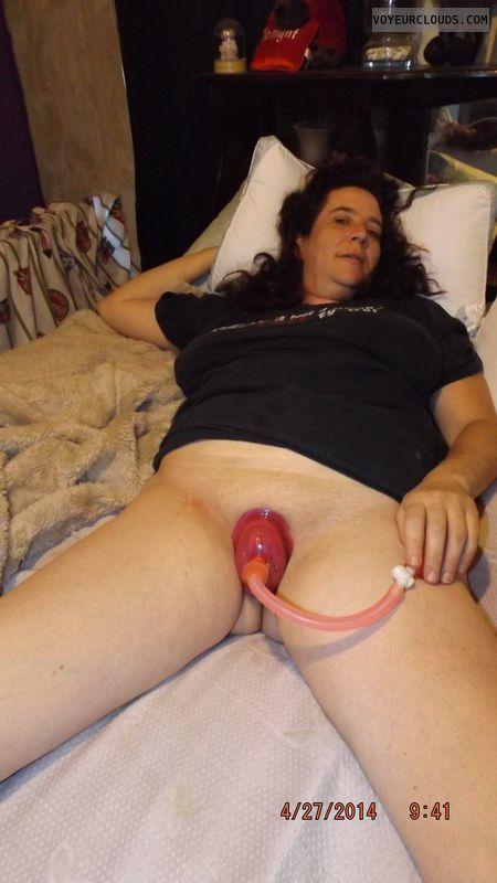 Hot naked spreading stockings