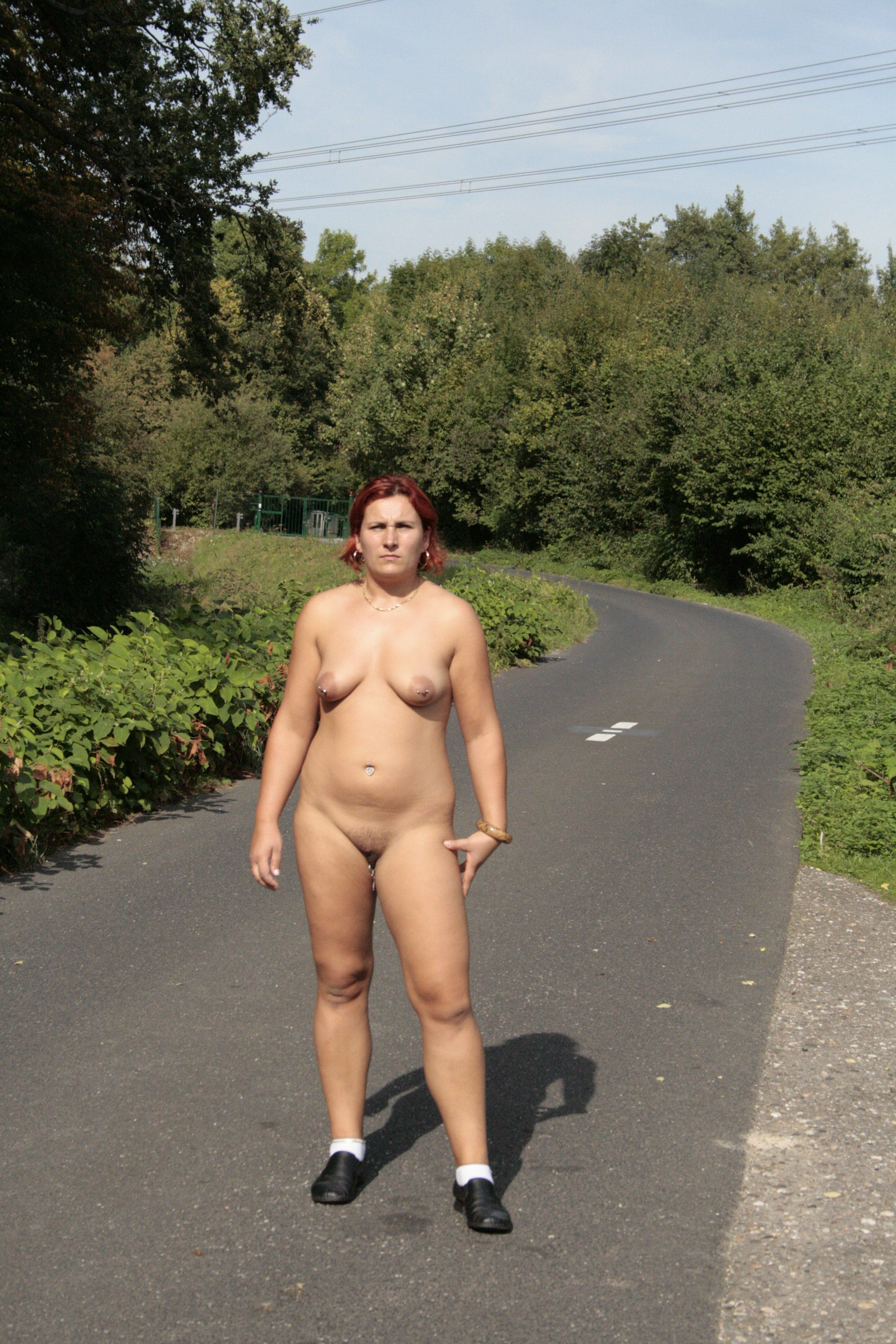 Old woman naturist have quickly