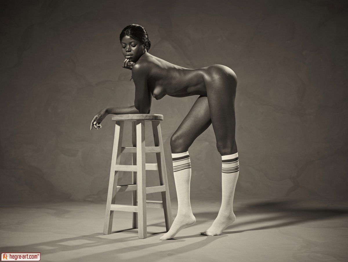 Nude female athletes bar stool