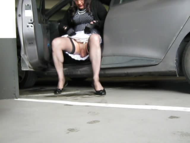 Asian upskirt crossdresser outdoor