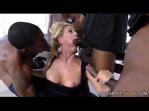 Above beautiful women in interracial groupsex gangbang