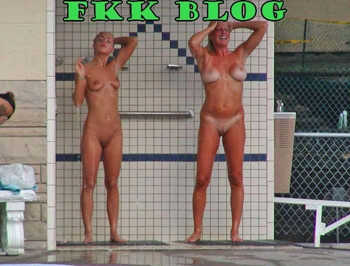 Girls Taking A Nude Public Shower