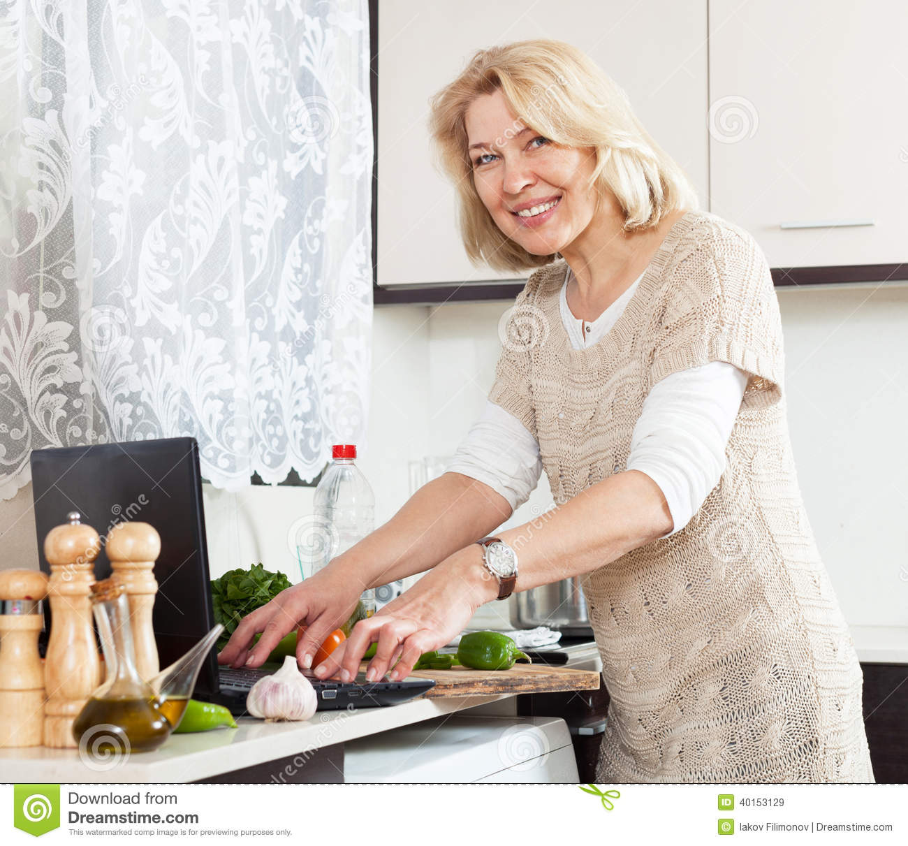 Mature housewife cooking
