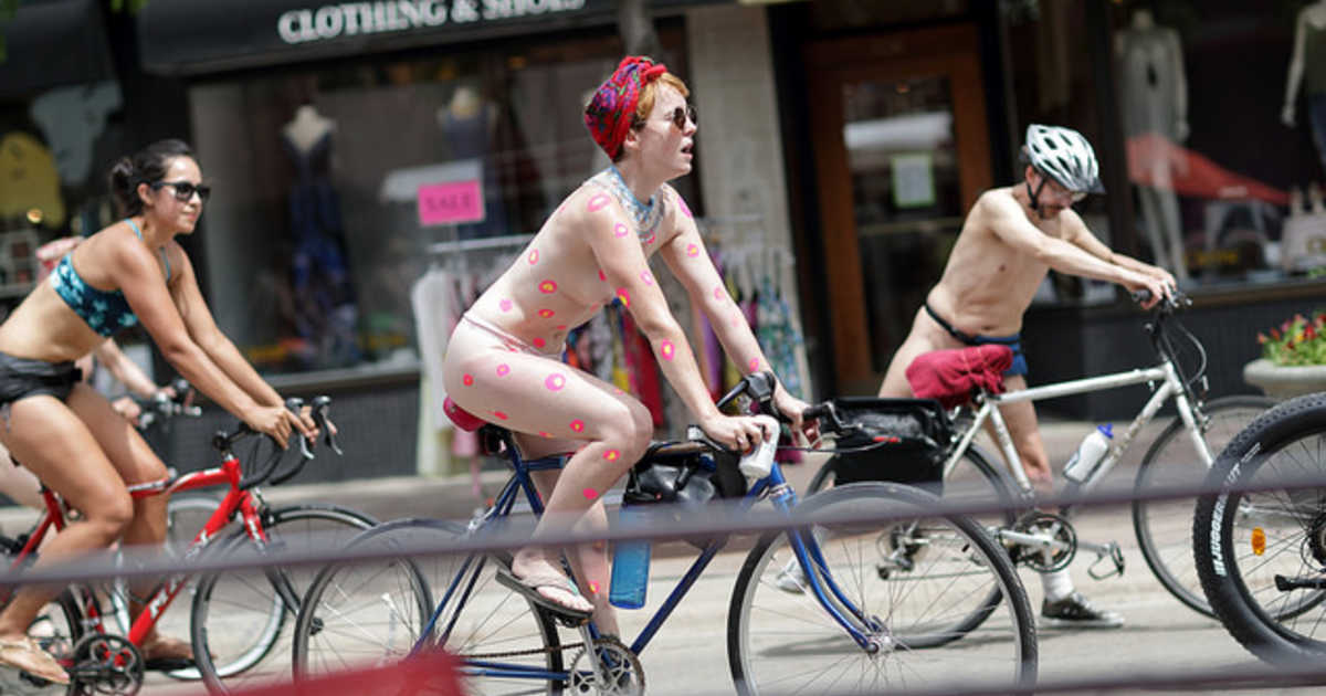 Pictures of nudist bike protest